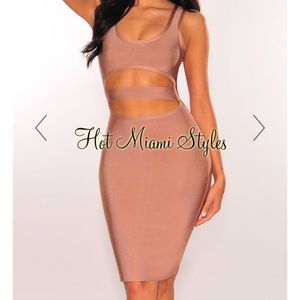 Hot Miami Styles - Bandage Underboob Cut Out Dress